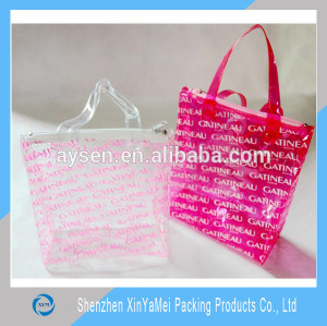 New standard size custom printed plastic tote bag for make up