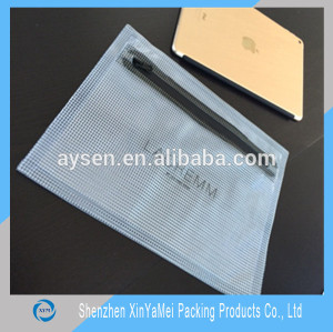 mesh PVC document bag with zipper
