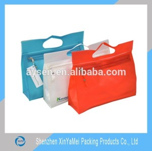 custom printing plastic clear PVC hand zipper gift cosmetic bag