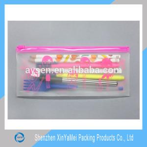PVC transparent colour bag with zipper for pencil/stationary/cosmetics