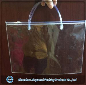 Clear vinyl pvc zipper bags with handle