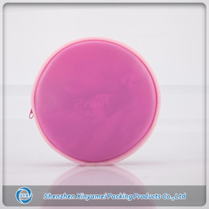 Round Shape Popular Quality Glossy PVC Cosmetic Bag with Pink Color