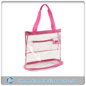 custom transparent pvc shopping bag clear tote bag
