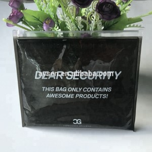 Shiny small clear sealing machine zipper pvc bags packaging