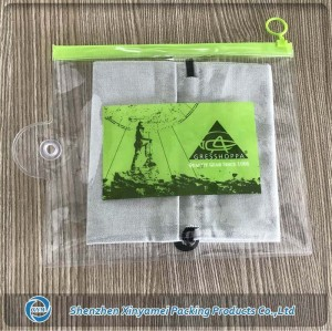 slider lock style crystal clear heat sealed pvc bag with euro hole