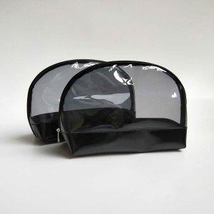 Cheap Wholesale PVC Black Cosmetic Zipper Bag