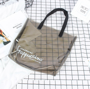 Custom Made Transparent Waterproof PVC Promotional Shopping Tote Bag for Lady