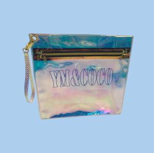 Cheap Wholesale Holographic PVC Cosmetic Zipper Bag