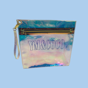 Cheap Wholesale Holographic PVC Cosmetic Zipper Bag