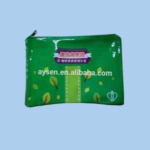 Custom Green PVC Nylon zipper bag