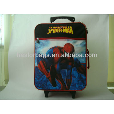 Red colour kids travel bag with wheels for wholesale