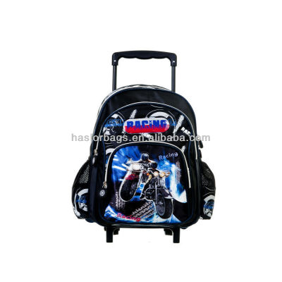 Kids Cute Motorcycle Pattern Trolley Backpack