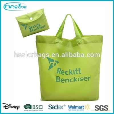 Custom eco-friendly reusable folding shopping bags with printing