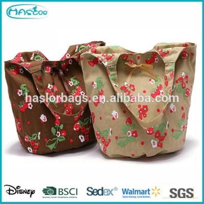 Fashion LKinen Shopping Bag with Flower Printing