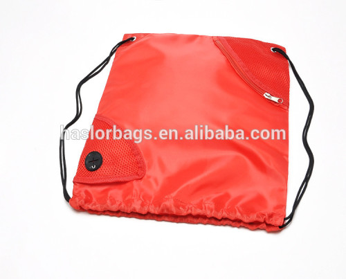 Wholesale custom cheap drawstring backpack bag with front zipper pocket