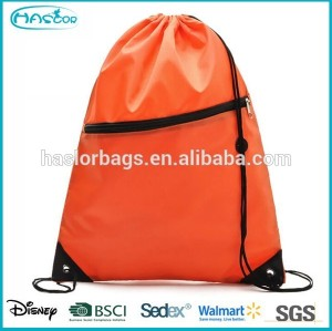 zipper cute drawstring backpack bag with headphone slot