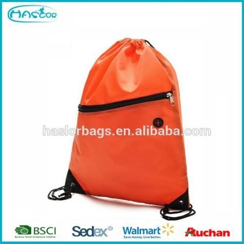 Fashion nylon drawstring backpack bag with zipper pocket