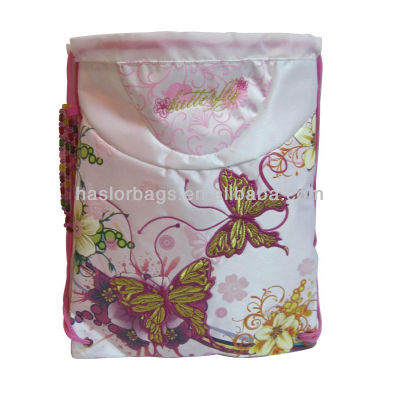 Drawstring Butterfly And Flower Priting Shoe Bag
