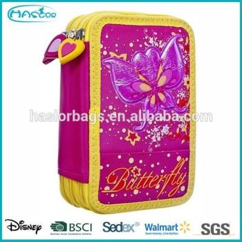 Butterfuly motif 3 couches crayon cas / 3 compartiment étui à crayons pour les filles