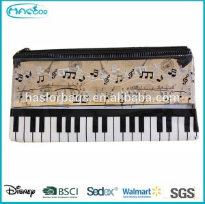 Piano Printing Pencil Bag / Cheap Plastic Pnecil Case with Zipper for Promotion