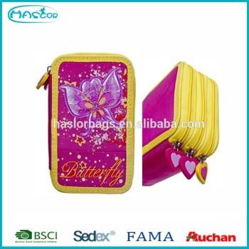 Butterfuly motif 3 couches étui à crayons / belle étui à crayons pour les filles