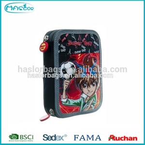 Wholesale School Pencil Case /Football Printing 3 Zipper Pencil Case