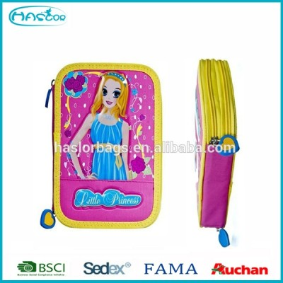 Cute Girl 3 Layers Pencil Case / Filled Pencil Case with Stationary for Girls