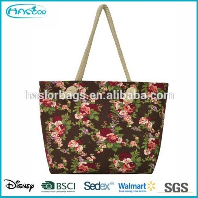 Fashoin Canvas Rope Handle Beach Bag for Lady