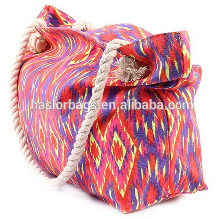 Fashion Pattern Canvas Tote Bag Rope Handle for Lady