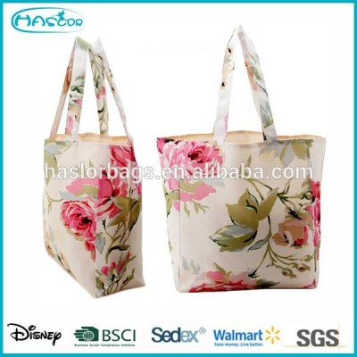 Flower Full Color Custom Printed Canvas Tote Bags for Lady