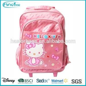 2014 hot sale cartoon hello kitty trolley school bags for girls
