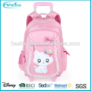 Lovely cat school backpacks with wheels for girls