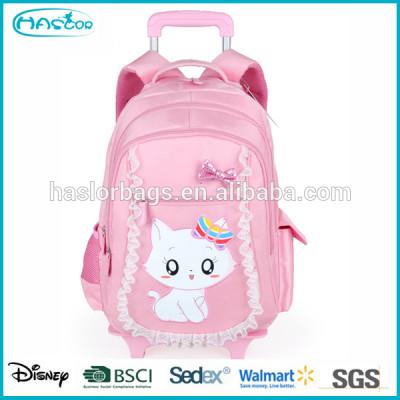 Lovely cat school backpacks with wheels for girls