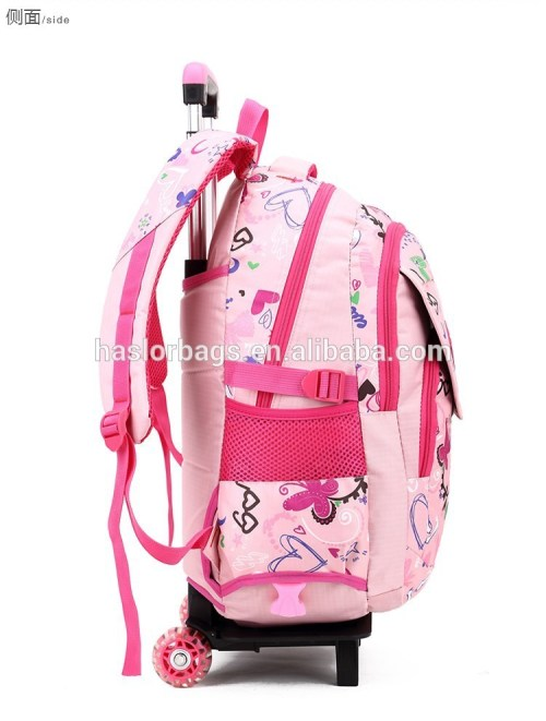 2015 New Style Kids Trolley School Bag With Wheels For Girls