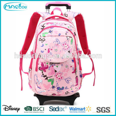 2015 Newest design beautiful school trolley bag for school girls