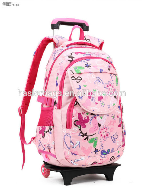 2015 Newest design beautiful school trolley bag for school girls