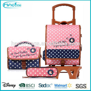 2015 Fashion Wheeled School Bag for Girls