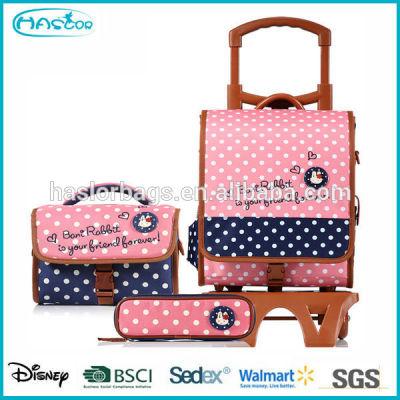 2015 Fashion Wheeled School Bag for Girls