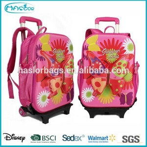 Butterfly Pattern Trolley Backpack for School