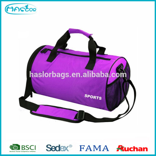 Cylinder shape sports bag with shoe compartment
