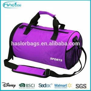 Gym cylinder shape sports bag with shoulder strap