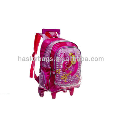 Satin Backpack for little Girls Small Pink Trolley School Bags