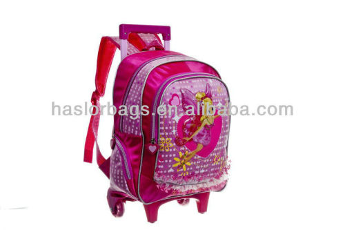 2016 wheeled cute polyester Chilren Trolley School Bag