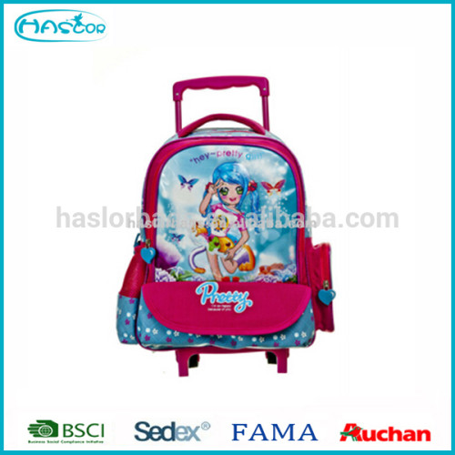 2016 School Travel Bag PVC Printing Cartoon Character Trolley Bag