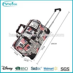 Folding portable trolley travel bag on wheels