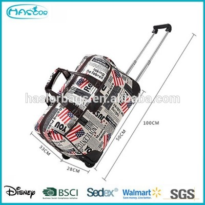 Folding portable trolley travel bag on wheels
