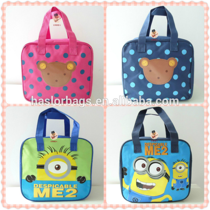 Lovely cartoon pattern mini canvas tote bags for kids