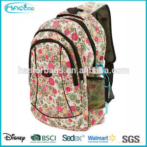 2015 new design beautiful flower allover printing backpack for school girls