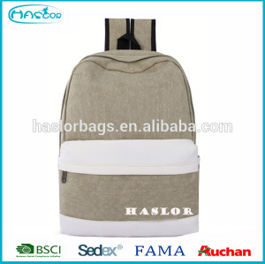 Haslor Hotselling Fashion Custom Casual Canvas Backpack Bag In School