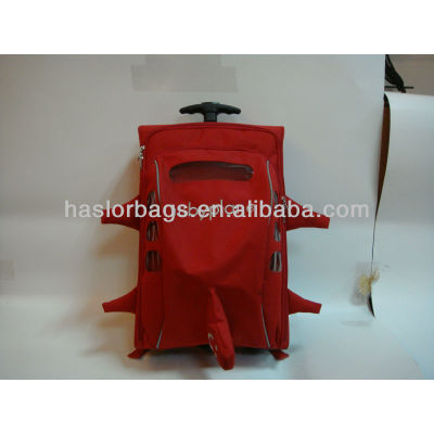 Red Color Little Girls Wheeled School Bag